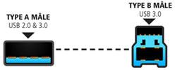Cordon USB 3.0 type A mâle - type B mâle