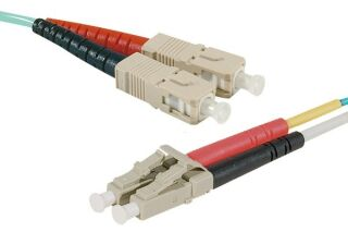 Jarretière optique duplex multimode OM4 50/125 SC-UPC/LC-UPC aqua - 15 m