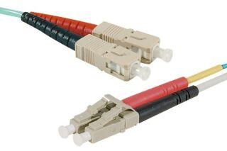Jarretière optique duplex multimode OM4 50/125 SC-UPC/LC-UPC aqua - 3 m