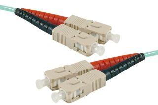 Jarretière optique duplex multimode OM4 50/125 SC-UPC/SC-UPC aqua - 15 m