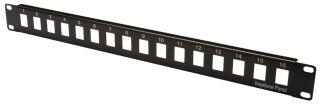 """Boîtier vide pour panneaux de brassage 19"""", 16 ports, noir, non-blindé"""