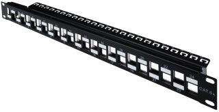 """Panneau de brassage modulaire RJ45 19"""", Cat.6a, 24 ports, noir, blindé"""