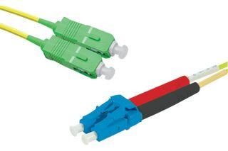 Jarretière optique duplex monomode OS2 9/125 SC-APC/LC-UPC jaune - 2 m