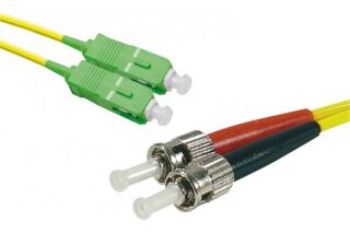 Jarretière optique duplex monomode OS2 9/125 SC-APC/ST-UPC jaune - 1 m