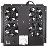 Toît de ventilation, 4 ventilateurs, noir (363x375x47)