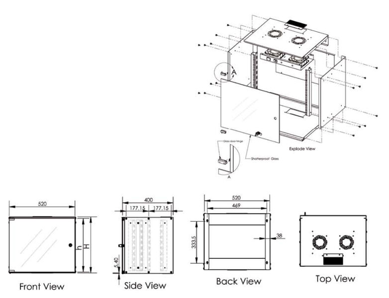 baie de brassage 19 pouces 9 u digitus. Black Bedroom Furniture Sets. Home Design Ideas