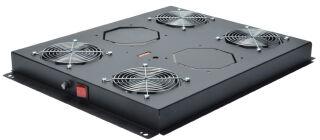 """Toit de ventilation 19"""", 4 ventilateurs, noir (435x505x65)"""