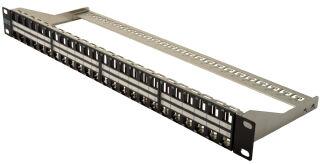 """Panneau de brassage modulaire RJ45 19"""", Cat.6a, 48 ports, noir, blindé, vide"""