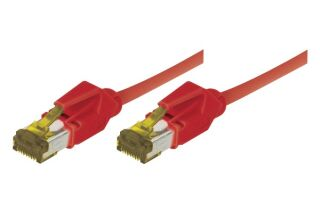 CORDON PATCH RJ45 S/FTP CAT 6a LSOH Snagless Rouge - 0,30 m