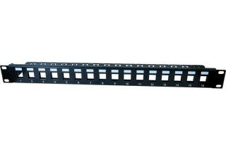 Panneau 1U 16 ports STP keystone avec support cables - vide