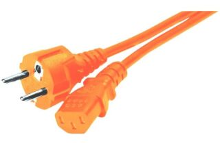 Cordon d'alimentation PC CEE7 droit / C13 orange - 1,8 m