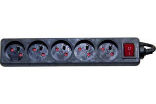 Multiprise 5 prises avec interrupteur noire - 1,5 m