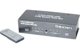 Kvm hdmi 4K/USB 4 entrees - 2 sorties HDMI console+aff.dyn.