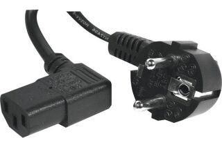 Cordon électrique secteur coudé noir 3 m