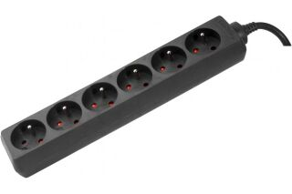 Multiprise 6 prises sans interrupteur noire - 4,0 m