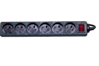 Multiprise 6 prises avec interrupteur noire - 1,5 m