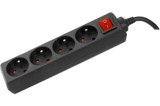 Multiprise 4 prises avec interrupteur noire - 1,5 m