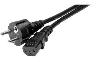 Cordon d'alimentation PC CEE7 droit / C13 noir - 1,8 m