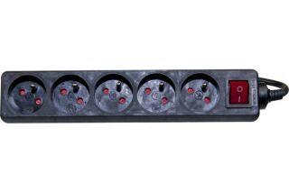 Multiprise 5 prises avec interrupteur noire - 4,0 m