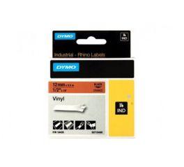 Ruban vinyle noir sur orange 12MM pour rhinopro