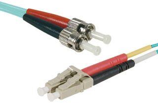Jarretière optique duplex multimode OM3 50/125 LC-UPC/ST-UPC aqua - 30 m