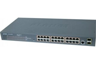 Planet switch Niv2 24P Gigabit PoE+ 300W et 2 ports SFP