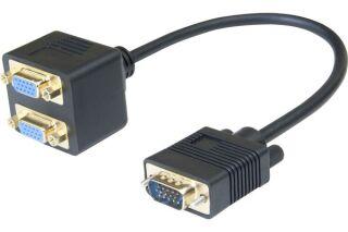 Cable 1 vga /m vers 2 vga /f - 30CM