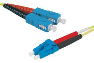 Jarretière optique duplex HD mono OS2 9/125 SC-UPC/LC-UPC jaune - 10 m