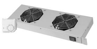 """Unité de ventilation 19"""", 2 ventilateurs, 1 U, gris clair (483x150x44)"""