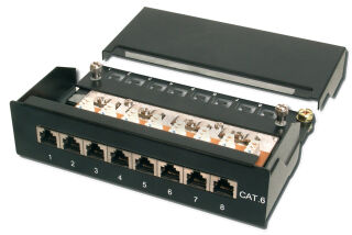 """Panneau de brassage RJ45 10"""", Cat.6, 8 ports, noir, blindé"""