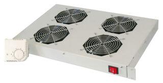 """Unité de ventilation 19"""", 4 ventilateurs, 1 U, gris clair (483x150x44)"""