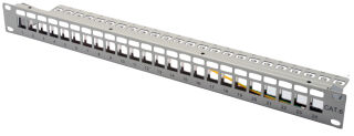 """Panneau de brassage modulaire RJ45 19"""", Cat.6, 24 ports, gris, blindé, vide"""