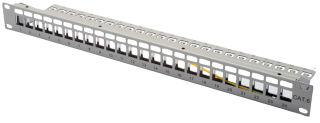 """Panneau de brassage modulaire RJ45 19"""", Cat.6, 24 ports, noir, blindé, vide"""