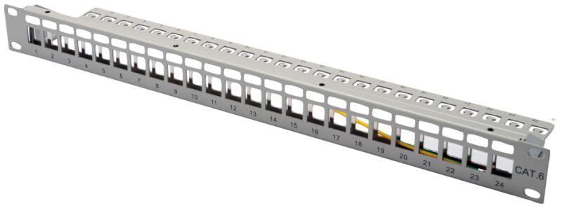 panneau de brassage modulaire rj45 19 u0026quot   cat 6  24 ports  blind u00e9  noir