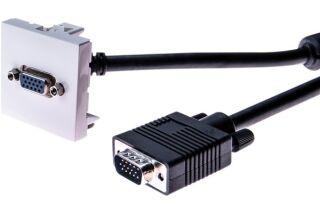 Plastron 45 x 45 avec cordon VGA coudé - 5 m