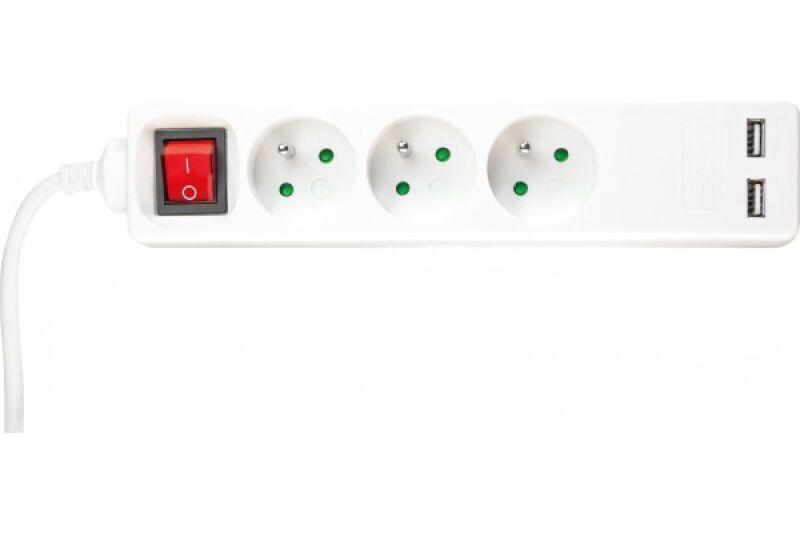 multiprise 3 prises avec interrupteur blanche chargeur. Black Bedroom Furniture Sets. Home Design Ideas