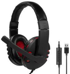 LogiLink Casque audio USB, avec microphone, noir-rouge