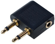 LogiLink Adaptateur audio pour avion, 2 x jack mâle 3,5 mm