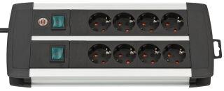 brennenstuhl Steckdosenleiste Premium-Duo-Alu-Line, 8-fach