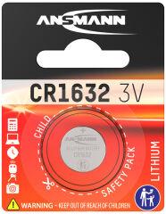 ANSMANN Pile bouton en lithium CR1632, 3 Volt, blister d'1