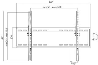 LogiLink Support mural pour TV, inclinable, pour 96,98 -