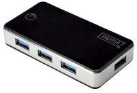 DIGITUS Hub USB 3.0, 4 ports, bloc d'alimentation, noir