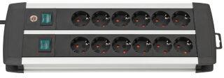 brennenstuhl Steckdosenleiste Premium-Duo-Alu-Line, 12-fach