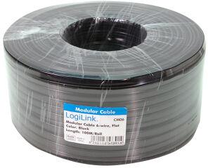 LogiLink Câble téléphonique, 100 m, 6 fils, plat, noir