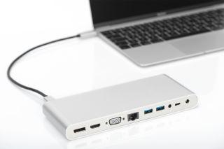 DIGITUS Docking Station universelle, USB-C, alu, argent