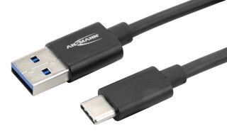 ANSMANN Câble de données & de charge, USB-A - USB-C, noir