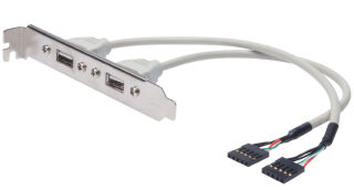 DIGITUS Equerre de slot USB 2.0, USB-A-IDC 5 broches, 0,25 m