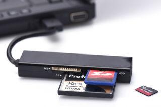 ednet Lecteur de carte USB 2.0 Multi-Card-Reader, noir
