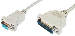 DIGITUS Câble d'imprimante, fiche 25 broches SUB-D, 3 m