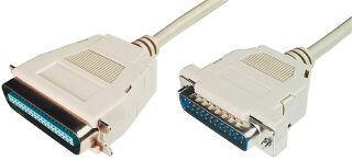 DIGITUS Câble d'imprimante, fiche 25 broches SUB-D, 1,8 m